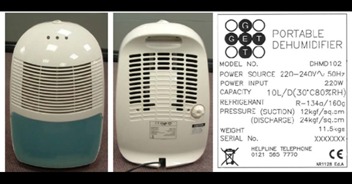 Argos 10 Litre Dehumidifier Recall Electrical Safety First